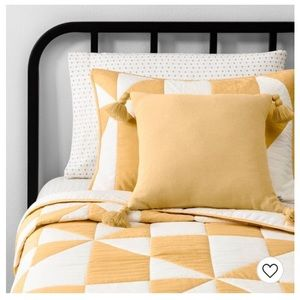Hearth and Hand yellow tassel pillow